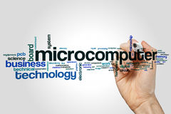 Microcomputer word cloud. Concept on grey background royalty free stock photo
