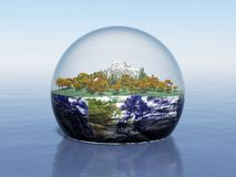 Microcosm. 3d render of a miniature landscape in a glass sphere around Earth Stock Images