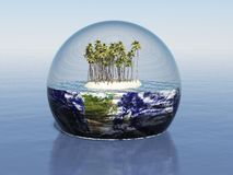 Microcosm. 3d render of a miniature landscape in a glass sphere around Earth Stock Photography