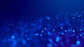 microcosm Brillan intensamente las partículas azules en fondo azul están colgando en el aire para la presentación festiva brillan libre illustration