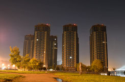Microdistrict Ribatskoe at night. Royalty Free Stock Images