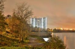 Microdistrict Ribatskoe at night. Stock Photo