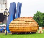 MICRODOM - XV arkitektonisk festival GORODA Arkivbild