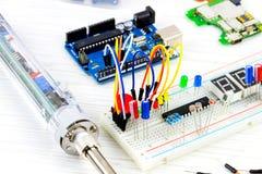 Microelectrónica de la programación informática fotografía de archivo