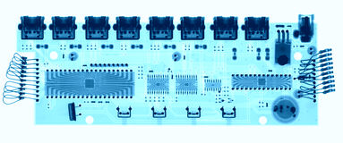 Microelectronic board under the X-rays Stock Photo