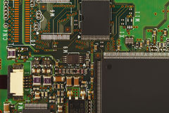 Microelectronic circuit board from digital device close up. Stock Image