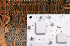 Microelectronics background chips Stock Photography