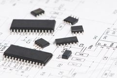Microelectronics element and layout Royalty Free Stock Image