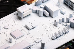 Microelectronics white background chips Stock Image