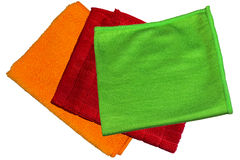 Microfiber cloth, orange, green, red Royalty Free Stock Photos