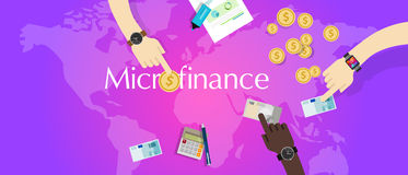 Microfinance micro financial solution social financing model lending. Money vector Stock Photo