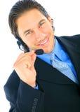 Microfone caucasiano masculino novo feliz da terra arrendada fotografia de stock