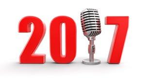 Microfone com 2017 Imagem de Stock Royalty Free