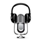 Microfone com fones de ouvido Vetor 10 eps Foto de Stock
