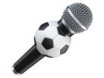 Microfone com futebol, bola de futebol 3D rendem, isolado no fundo branco com sombra Fotografia de Stock Royalty Free