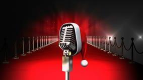 Microfone com luzes de piscamento e tapete vermelho e chapéu de Santa Christmas video estoque
