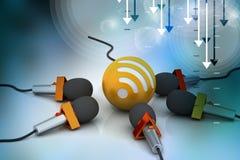Microfone com sinal dos rss, conceito de uma comunicação Fotografia de Stock