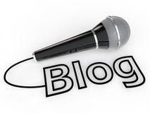microfone 3d e texto do blogue Imagem de Stock Royalty Free