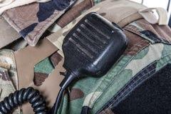 Microfone da estação de rádio do exército Foto de Stock
