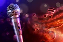 Microfone da ilustração com o fundo vermelho e azul horizontal Fotos de Stock Royalty Free