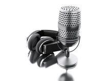 microfone de 3d A com fones de ouvido pretos Foto de Stock Royalty Free