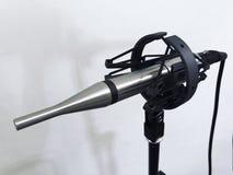 Microfone de medição no estúdio sadio no fundo branco fotos de stock royalty free