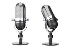 Microfone de prata do vintage Fotos de Stock Royalty Free