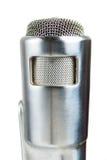 Microfone de prata do vintage no branco. Fotos de Stock
