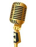 Microfone do ouro (en) isolado Imagens de Stock Royalty Free