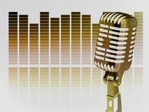Microfone do vintage do ouro Fotos de Stock