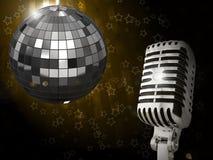 Microfone do vintage do ouro Imagens de Stock