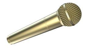 Microfone dourado, isolado no fundo branco ilustração 3D Imagens de Stock Royalty Free