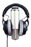 Microfone e auscultadores Foto de Stock Royalty Free