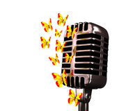 Microfone e borboletas Imagem de Stock Royalty Free