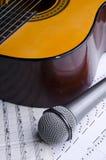 Microfone e guitarra Fotos de Stock Royalty Free