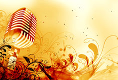 Microfone e projeto floral Fotografia de Stock
