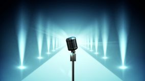 Microfone na fase azul com vídeo das luzes