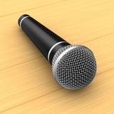 Microfone na tabela de madeira ilustração 3D Foto de Stock