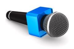 Microfone no fundo branco Ilustração 3d isolada Imagem de Stock Royalty Free