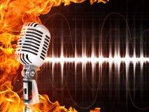 Microfone no fundo do incêndio ilustração royalty free