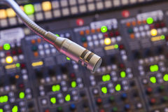 Microfone no painel de controle Fotos de Stock