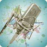 Microfone profissional & caligrafia floral Foto de Stock Royalty Free