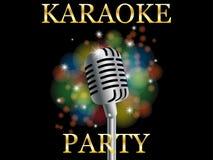 Microfone realístico do fundo da música no partido preto do karaoke da inscrição do bokeh do fundo ilustração stock