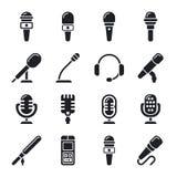 Microfone, som, ícones de rádio do vetor ilustração royalty free