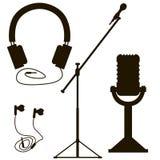microfones e fones de ouvido Imagem de Stock Royalty Free