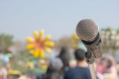 Microfones, eventos exteriores Imagens de Stock Royalty Free