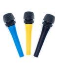 Microfones isolados no fundo branco Fotos de Stock Royalty Free