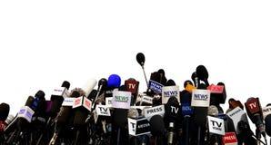 Microfoni durante la conferenza stampa Immagini Stock