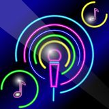 Microfono al neon con le note Fotografie Stock