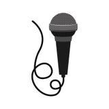 Microfono con l'icona del cavo Fotografia Stock
